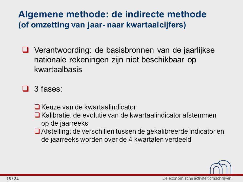 De economische activiteit omschrijven 15 / 34 Algemene methode: de indirecte methode (of omzetting van jaar- naar kwartaalcijfers)  Verantwoording: d