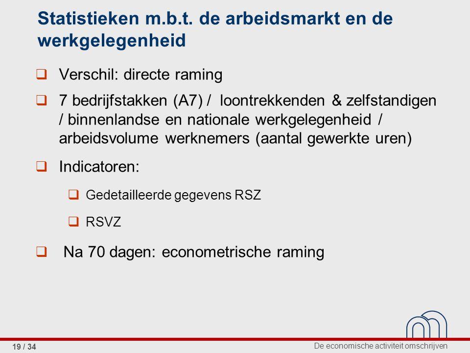 De economische activiteit omschrijven 19 / 34 Statistieken m.b.t. de arbeidsmarkt en de werkgelegenheid  Verschil: directe raming  7 bedrijfstakken