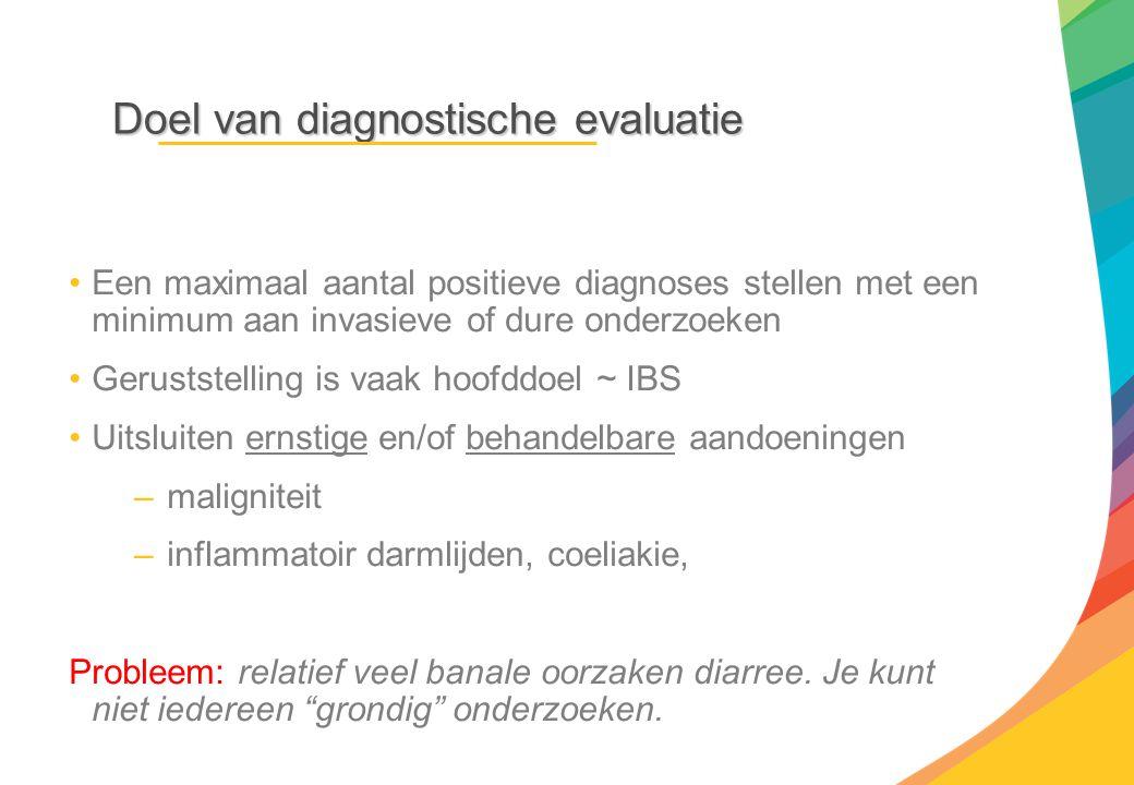 Doel van diagnostische evaluatie Een maximaal aantal positieve diagnoses stellen met een minimum aan invasieve of dure onderzoeken Geruststelling is v
