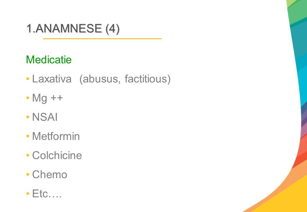 1.ANAMNESE (4) Medicatie Laxativa (abusus, factitious) Mg ++ NSAI Metformin Colchicine Chemo Etc….