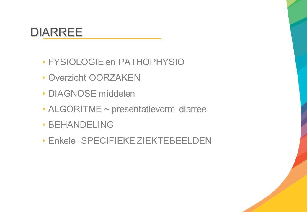 DIARREE FYSIOLOGIE en PATHOPHYSIO Overzicht OORZAKEN DIAGNOSE middelen ALGORITME ~ presentatievorm diarree BEHANDELING Enkele SPECIFIEKE ZIEKTEBEELDEN