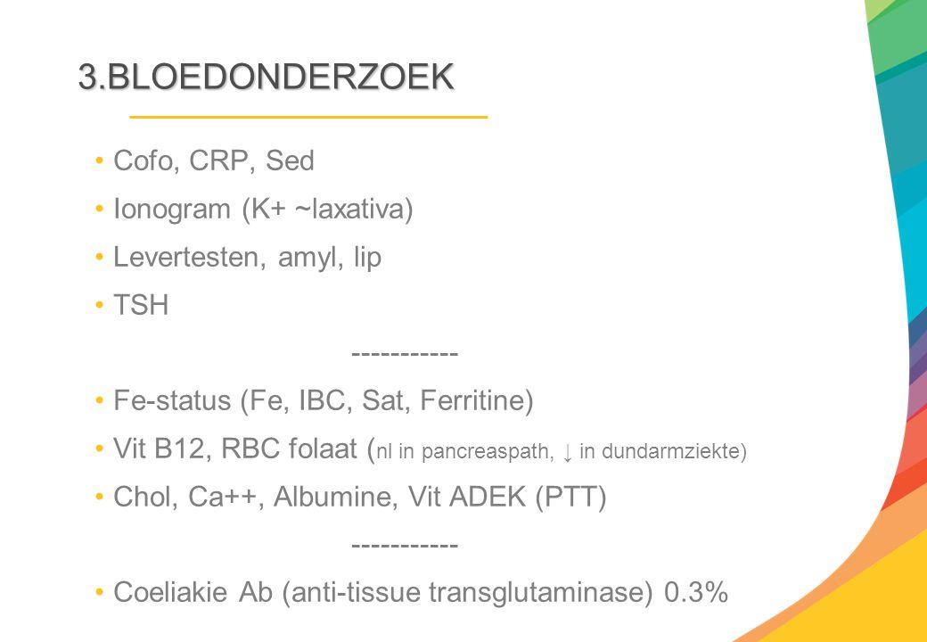 3.BLOEDONDERZOEK Cofo, CRP, Sed Ionogram (K+ ~laxativa) Levertesten, amyl, lip TSH ----------- Fe-status (Fe, IBC, Sat, Ferritine) Vit B12, RBC folaat