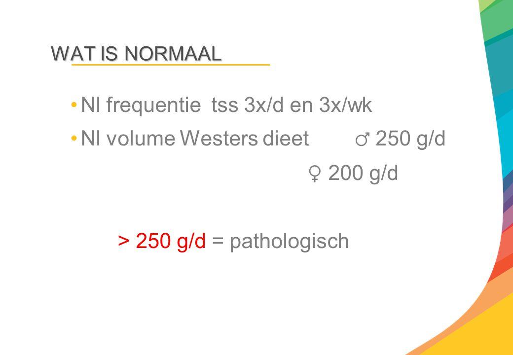 WAT IS NORMAAL Nl frequentie tss 3x/d en 3x/wk Nl volume Westers dieet ♂ 250 g/d ♀ 200 g/d > 250 g/d = pathologisch
