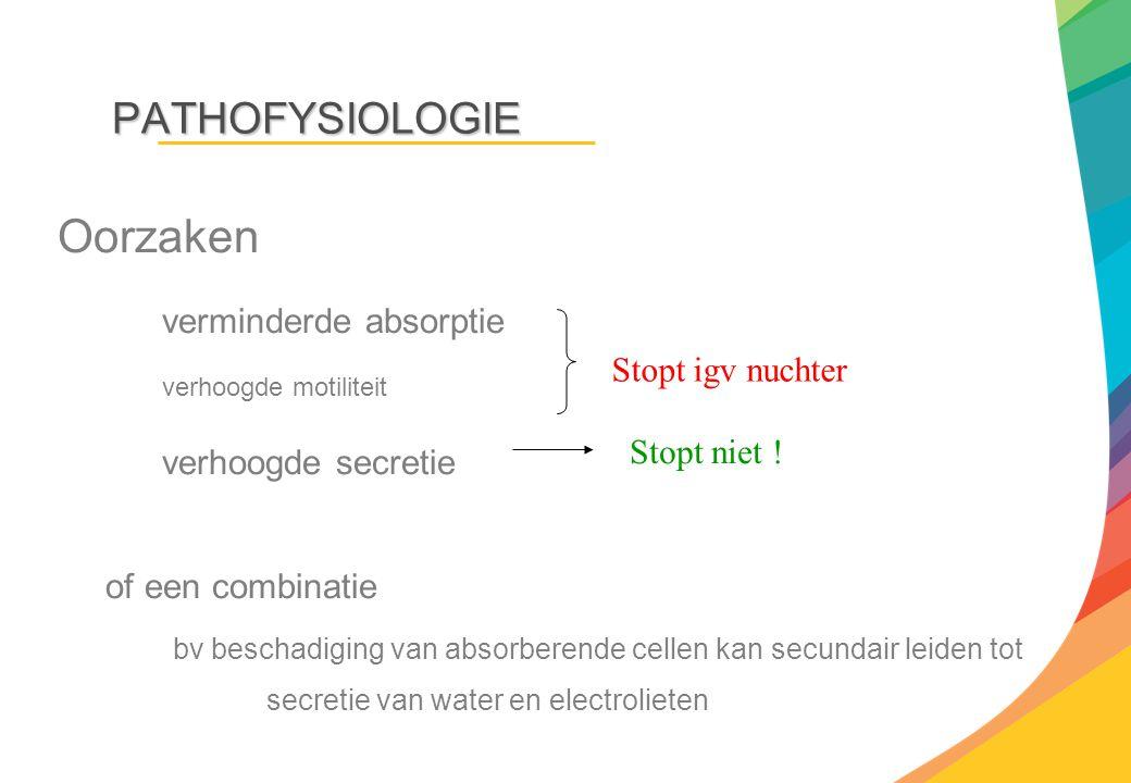 PATHOFYSIOLOGIE Oorzaken verminderde absorptie verhoogde motiliteit verhoogde secretie of een combinatie bv beschadiging van absorberende cellen kan s