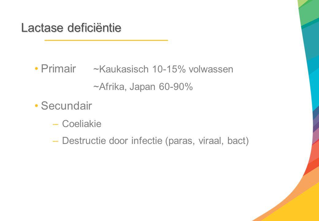 Lactasedeficiëntie Lactase deficiëntie Primair ~Kaukasisch 10-15% volwassen ~Afrika, Japan 60-90% Secundair –Coeliakie –Destructie door infectie (para