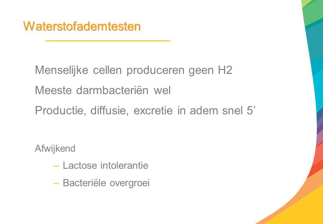 Waterstofademtesten Menselijke cellen produceren geen H2 Meeste darmbacteriën wel Productie, diffusie, excretie in adem snel 5' Afwijkend –Lactose int