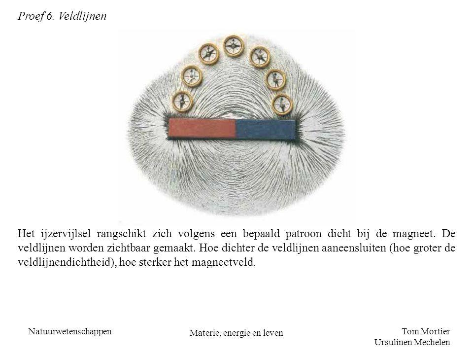 Tom Mortier Ursulinen Mechelen Natuurwetenschappen Materie, energie en leven Proef 6. Veldlijnen Het ijzervijlsel rangschikt zich volgens een bepaald