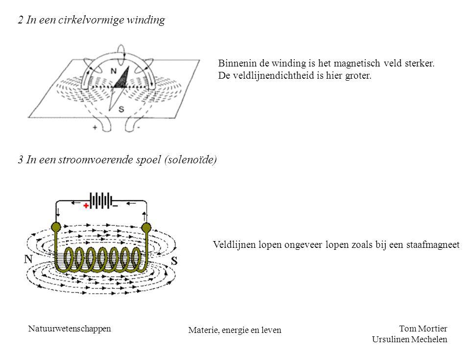 Tom Mortier Ursulinen Mechelen Natuurwetenschappen Materie, energie en leven 2 In een cirkelvormige winding Binnenin de winding is het magnetisch veld