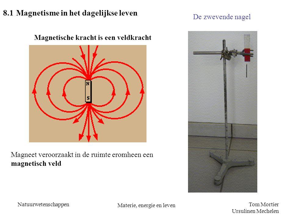 Tom Mortier Ursulinen Mechelen Natuurwetenschappen Materie, energie en leven 8.1 Magnetisme in het dagelijkse leven Magnetische kracht is een veldkrac