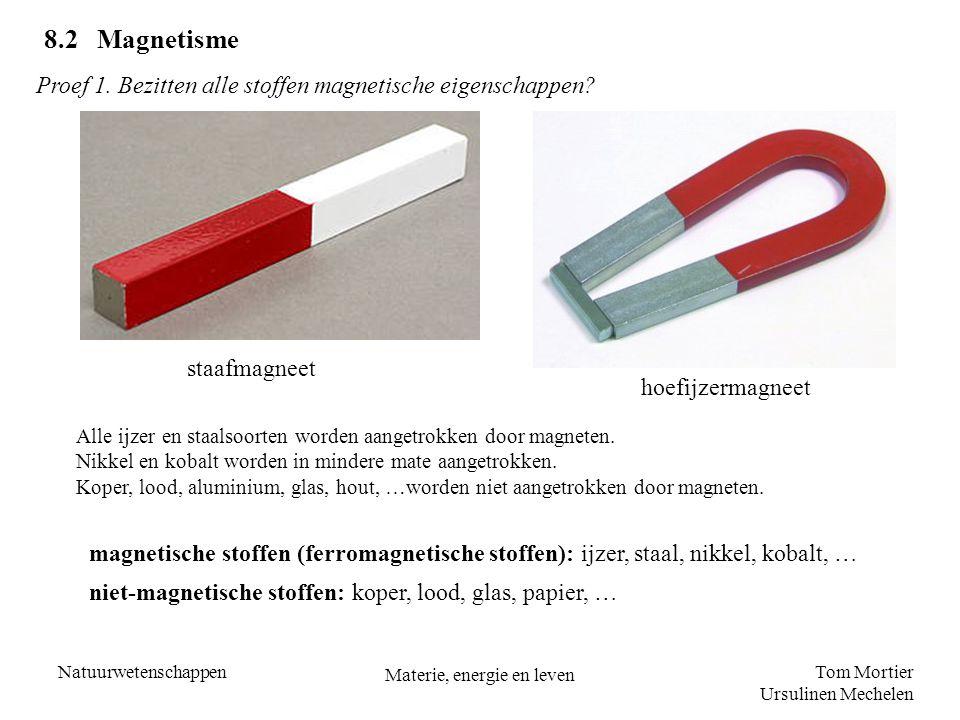 Tom Mortier Ursulinen Mechelen Natuurwetenschappen Materie, energie en leven 8.2 Magnetisme staafmagneet Proef 1. Bezitten alle stoffen magnetische ei