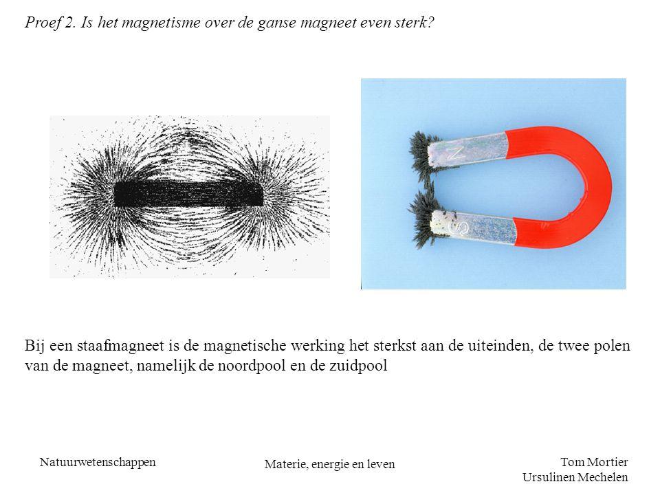 Tom Mortier Ursulinen Mechelen Natuurwetenschappen Materie, energie en leven Proef 2. Is het magnetisme over de ganse magneet even sterk? Bij een staa