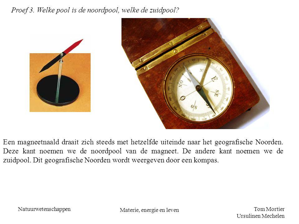 Tom Mortier Ursulinen Mechelen Natuurwetenschappen Materie, energie en leven Proef 3. Welke pool is de noordpool, welke de zuidpool? Een magneetnaald