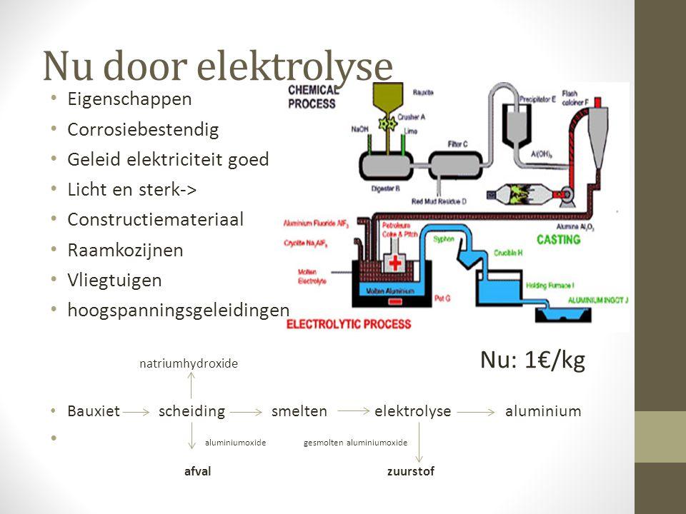 Nu door elektrolyse Eigenschappen Corrosiebestendig Geleid elektriciteit goed Licht en sterk-> Constructiemateriaal Raamkozijnen Vliegtuigen hoogspann