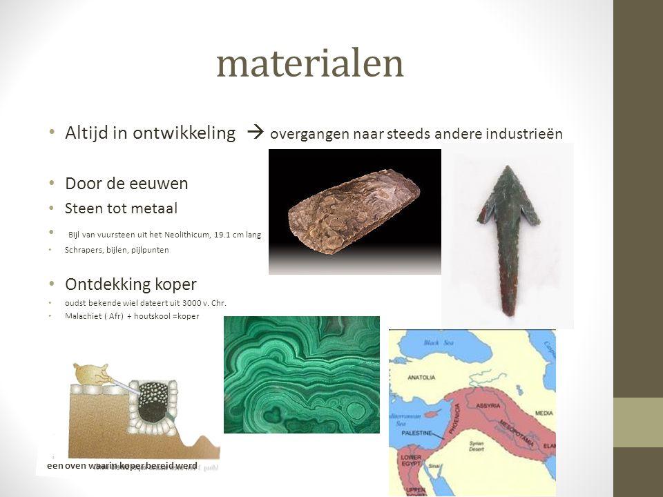materialen Altijd in ontwikkeling  overgangen naar steeds andere industrieën Door de eeuwen Steen tot metaal Bijl van vuursteen uit het Neolithicum,