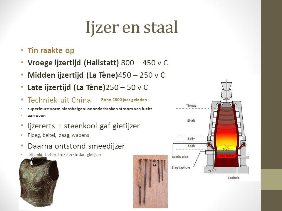 Ijzer en staal Tin raakte op Vroege ijzertijd (Hallstatt) 800 – 450 v C Midden ijzertijd (La Tène)450 – 250 v C Late ijzertijd (La Tène)250 – 50 v C T