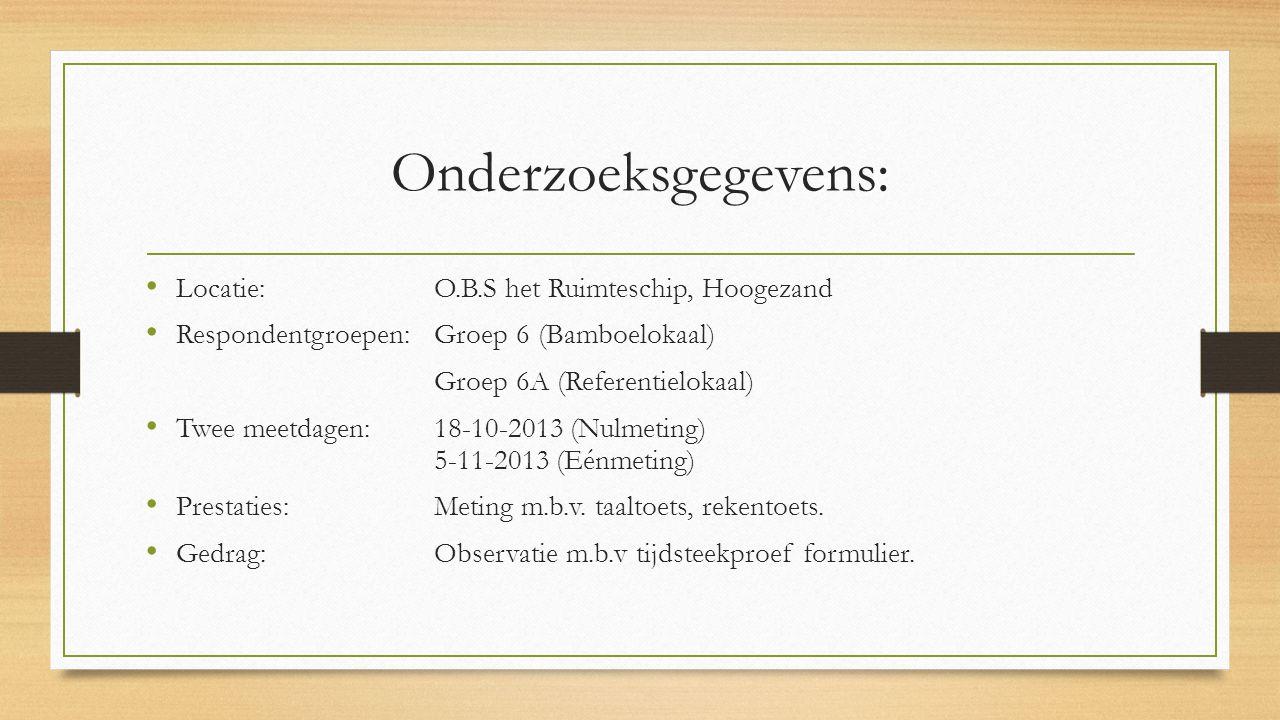 Onderzoeksgegevens: Locatie: O.B.S het Ruimteschip, Hoogezand Respondentgroepen: Groep 6 (Bamboelokaal) Groep 6A (Referentielokaal) Twee meetdagen:18-10-2013 (Nulmeting) 5-11-2013 (Eénmeting) Prestaties:Meting m.b.v.