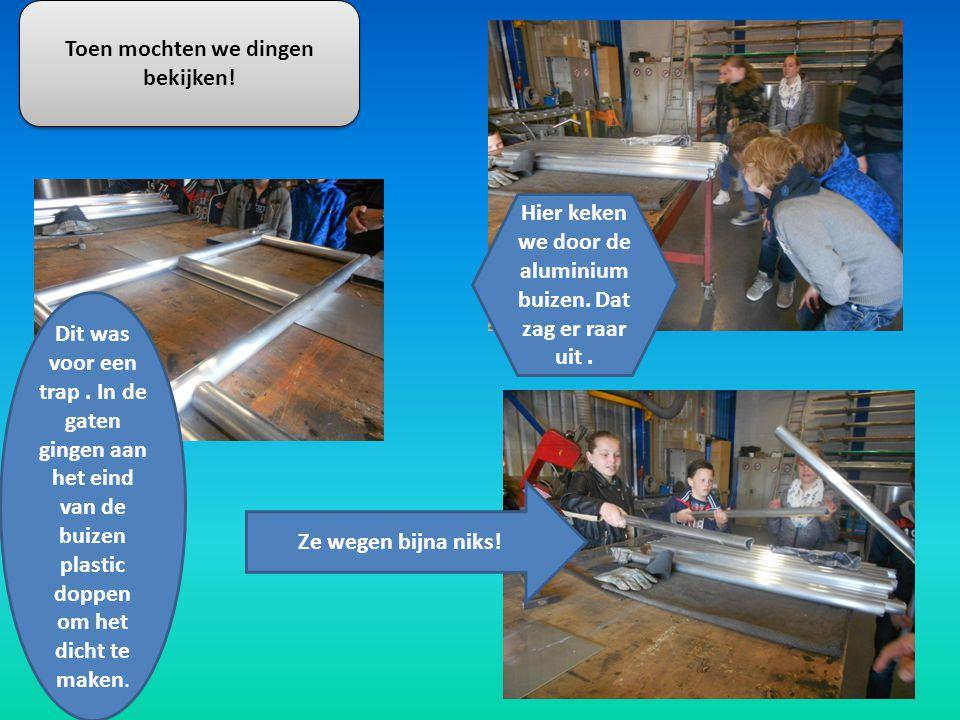 Toen mochten we zelf dingen maken van staal zoals buigen gaatjes maken en snijden.