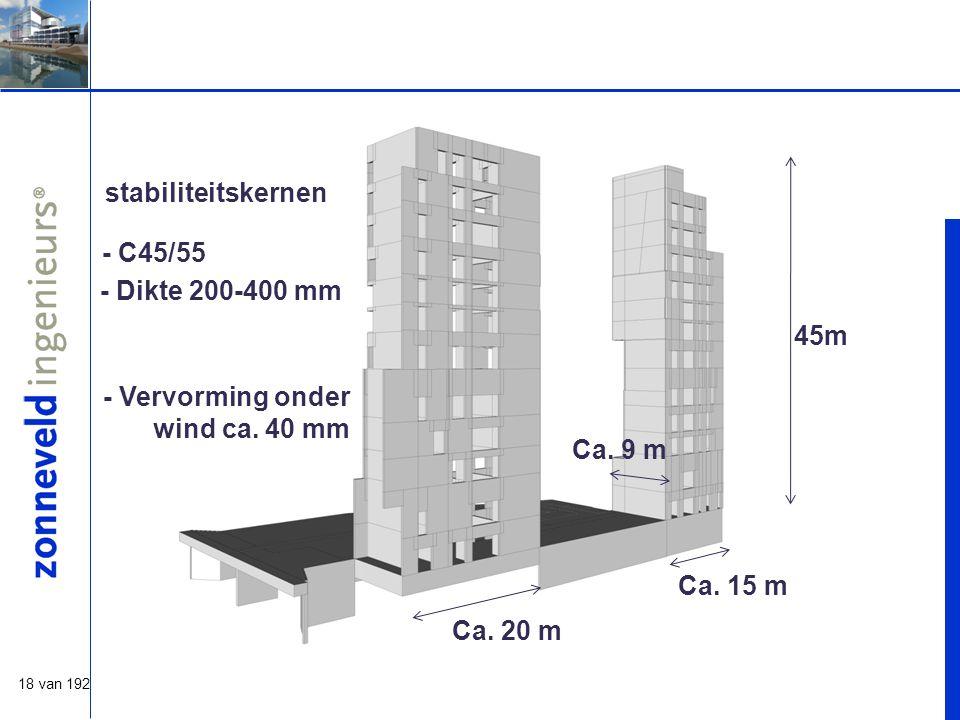 18 van 192 stabiliteitskernen Ca.20 m Ca. 15 m Ca.
