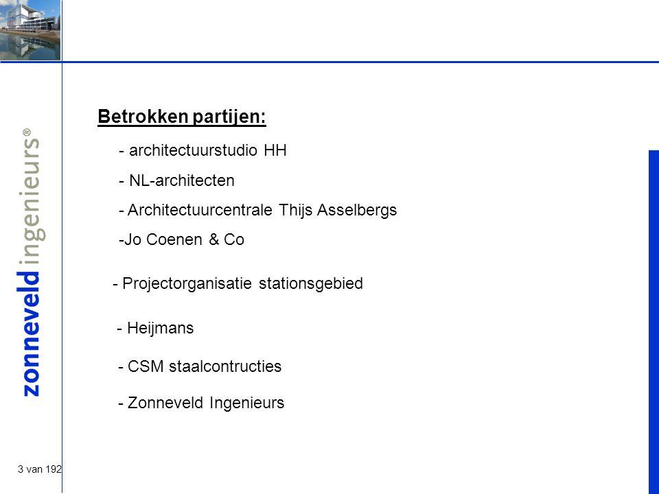 3 van 192 - Heijmans Betrokken partijen: - architectuurstudio HH - NL-architecten - Architectuurcentrale Thijs Asselbergs -Jo Coenen & Co - CSM staalcontructies - Zonneveld Ingenieurs - Projectorganisatie stationsgebied