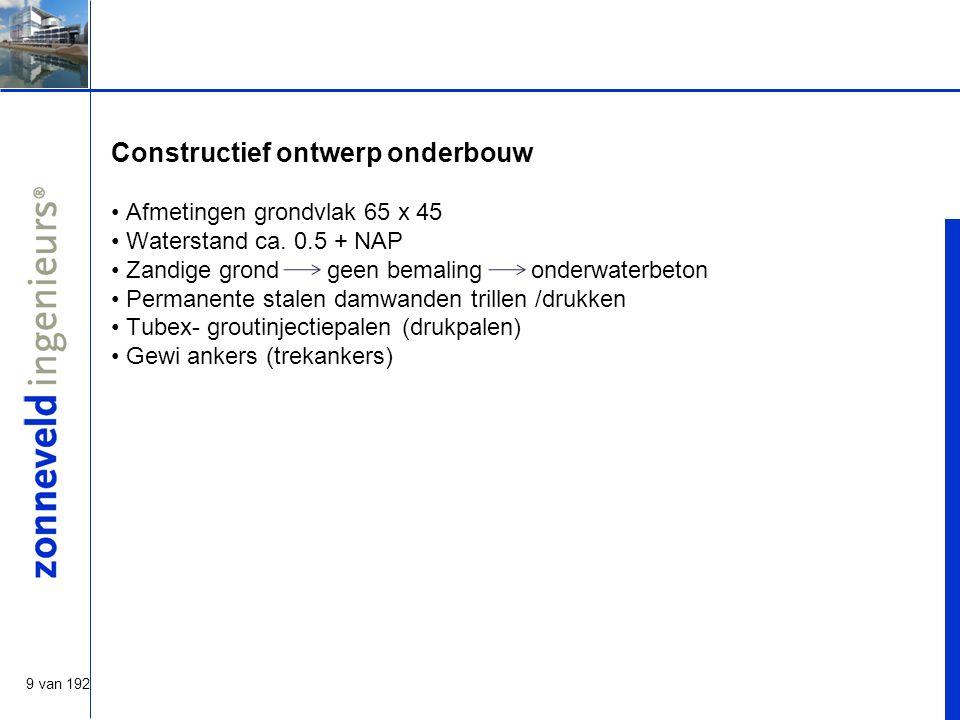 9 van 192 Constructief ontwerp onderbouw Afmetingen grondvlak 65 x 45 Waterstand ca.