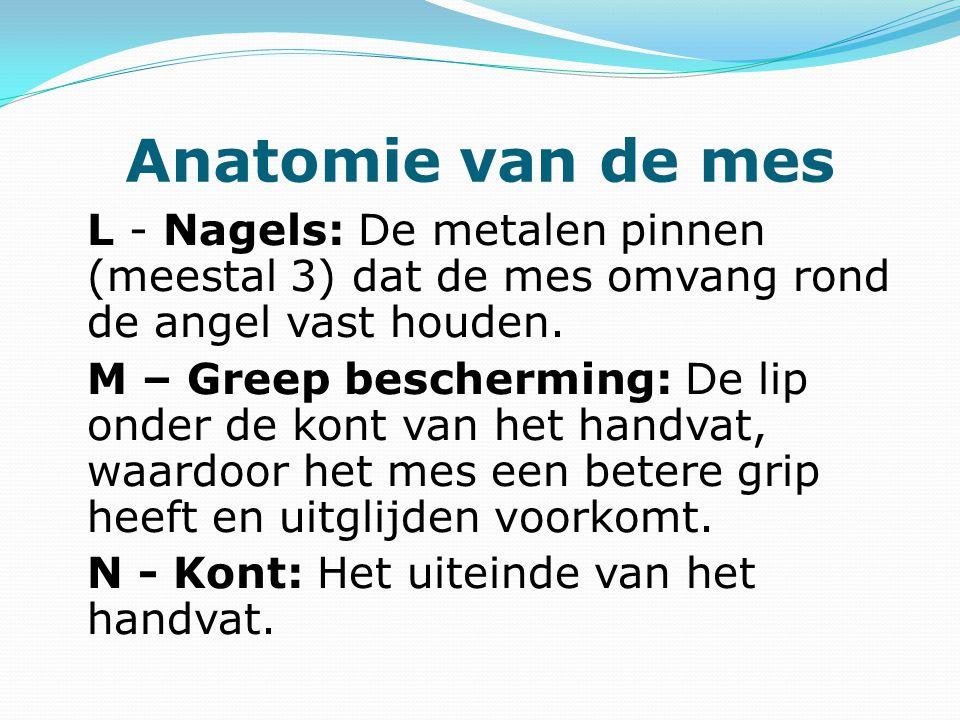 Anatomie van de mes L - Nagels: De metalen pinnen (meestal 3) dat de mes omvang rond de angel vast houden. M – Greep bescherming: De lip onder de kont