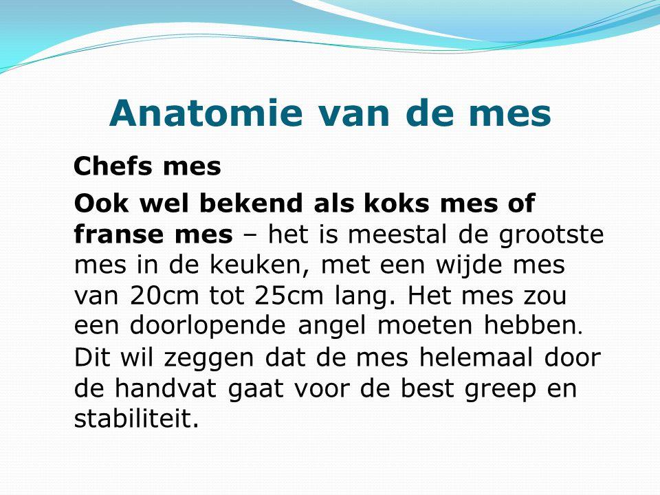 Anatomie van de mes Chefs mes Ook wel bekend als koks mes of franse mes – het is meestal de grootste mes in de keuken, met een wijde mes van 20cm tot 25cm lang.