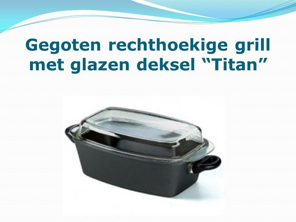 Gegoten rechthoekige grill met glazen deksel Titan