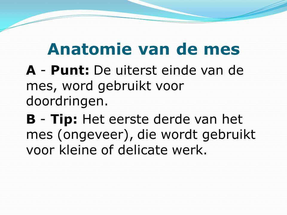 Anatomie van de mes A - Punt: De uiterst einde van de mes, word gebruikt voor doordringen.