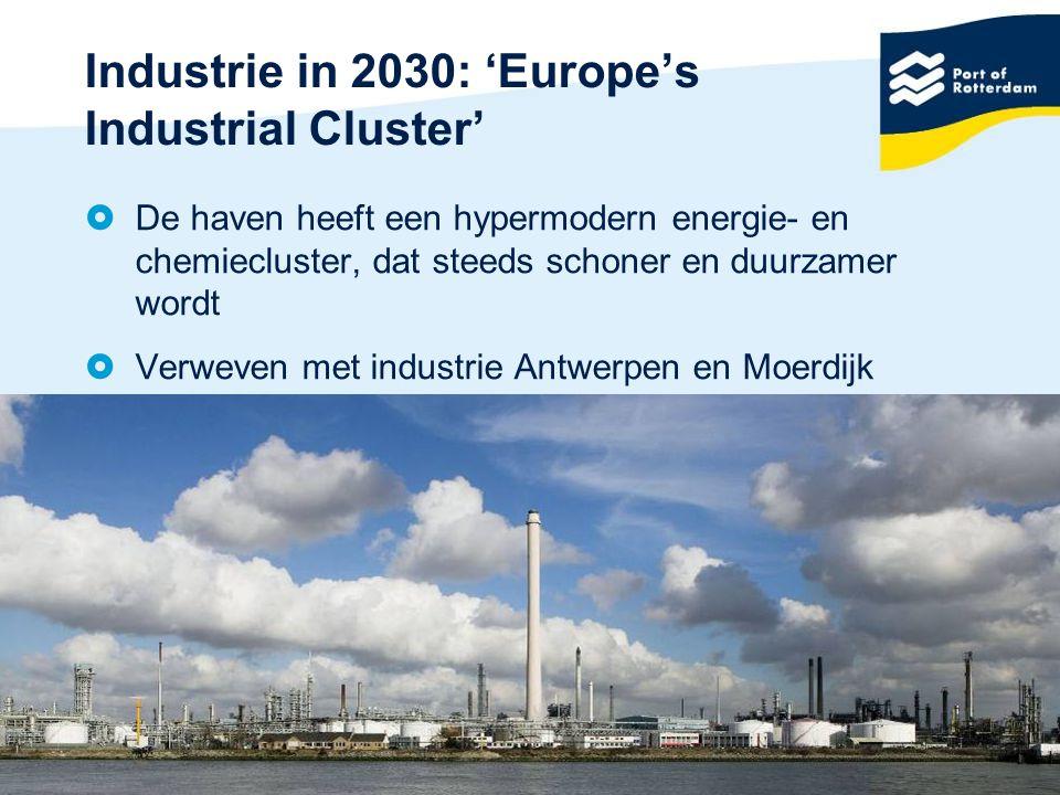 7 Industrie in 2030: 'Europe's Industrial Cluster'  De haven heeft een hypermodern energie- en chemiecluster, dat steeds schoner en duurzamer wordt  Verweven met industrie Antwerpen en Moerdijk
