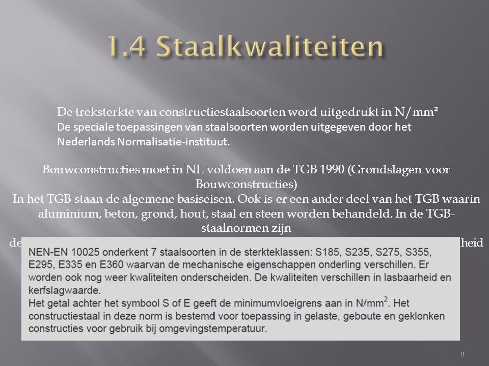 9 De treksterkte van constructiestaalsoorten word uitgedrukt in N/mm ² De speciale toepassingen van staalsoorten worden uitgegeven door het Nederlands Normalisatie-instituut.