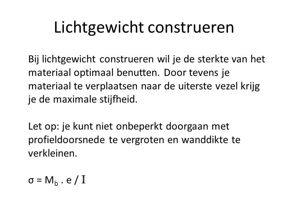 Lichtgewicht construeren Bij lichtgewicht construeren wil je de sterkte van het materiaal optimaal benutten. Door tevens je materiaal te verplaatsen n