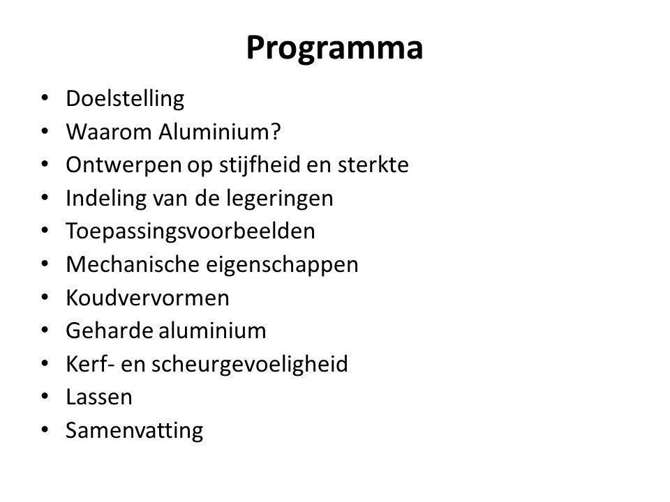Programma Doelstelling Waarom Aluminium? Ontwerpen op stijfheid en sterkte Indeling van de legeringen Toepassingsvoorbeelden Mechanische eigenschappen