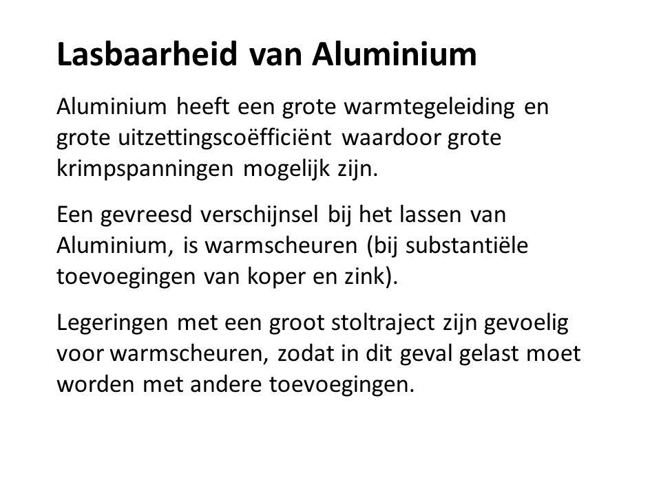 Lasbaarheid van Aluminium Aluminium heeft een grote warmtegeleiding en grote uitzettingscoëfficiënt waardoor grote krimpspanningen mogelijk zijn. Een