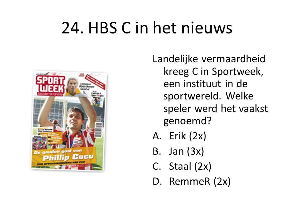 24. HBS C in het nieuws Landelijke vermaardheid kreeg C in Sportweek, een instituut in de sportwereld. Welke speler werd het vaakst genoemd? A.Erik (2