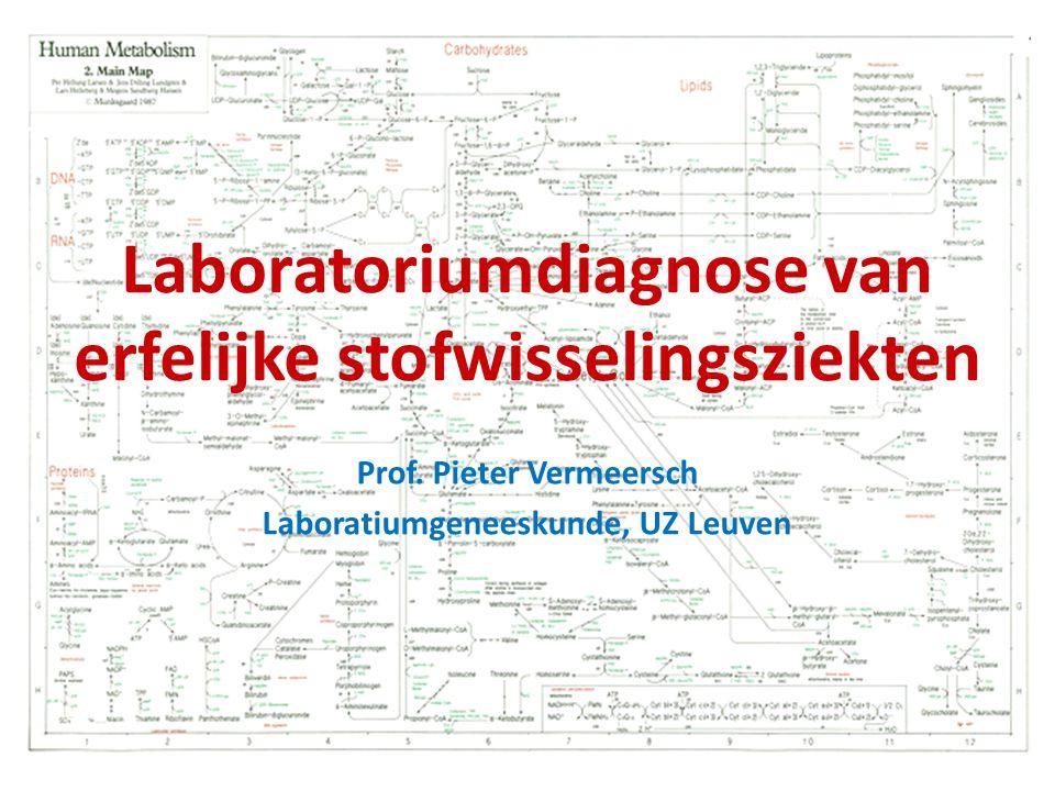 2 de lijnstesten Aminozuren (plasma, urine, CSV) - methode: chromatografie (ion-uitwisseling, LC-MSMS) - scheiding 40-tal AZ waarvan er 20 gerapporteerd en kwantitatief bepaald - plasma ( nuchter , invriezen): systematisch bij vermoeden erfelijke stofwisselingsziekte - CSV (invriezen): voor geselecteerde aandoeningen (steeds parallel plasmastaal) - urine (invriezen): diagnose cystinurie (soms aanvullend naast plasma) Organische zuren (urine, CSV) - methode: GC-MS - scheiding van meer dan 100 componenten.