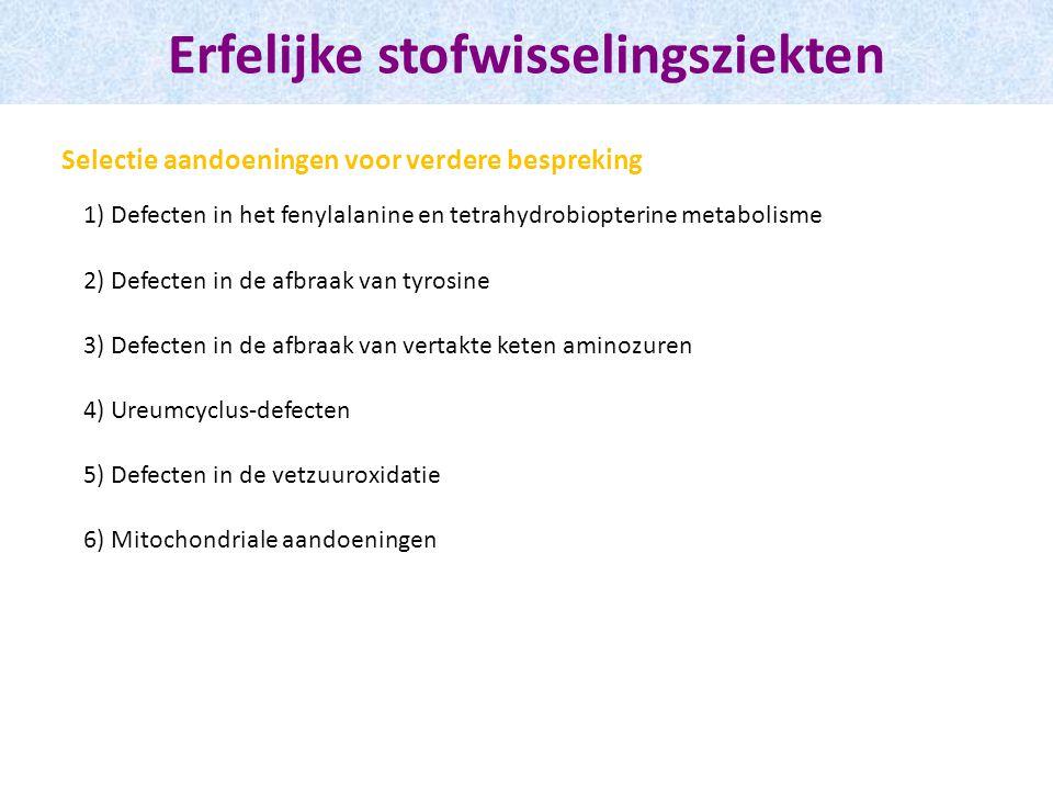 Erfelijke stofwisselingsziekten 1) Defecten in het fenylalanine en tetrahydrobiopterine metabolisme 2) Defecten in de afbraak van tyrosine 3) Defecten in de afbraak van vertakte keten aminozuren 4) Ureumcyclus-defecten 5) Defecten in de vetzuuroxidatie 6) Mitochondriale aandoeningen Selectie aandoeningen voor verdere bespreking