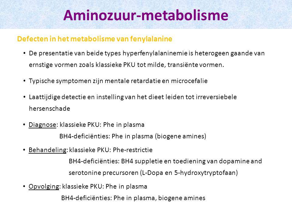 De presentatie van beide types hyperfenylalaninemie is heterogeen gaande van ernstige vormen zoals klassieke PKU tot milde, transiënte vormen. Typisch