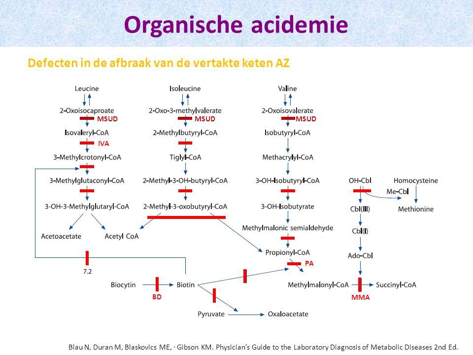 Organische acidemie Defecten in de afbraak van de vertakte keten AZ MSUD MMA BD PA IVA Blau N, Duran M, Blaskovics ME, · Gibson KM. Physician's Guide
