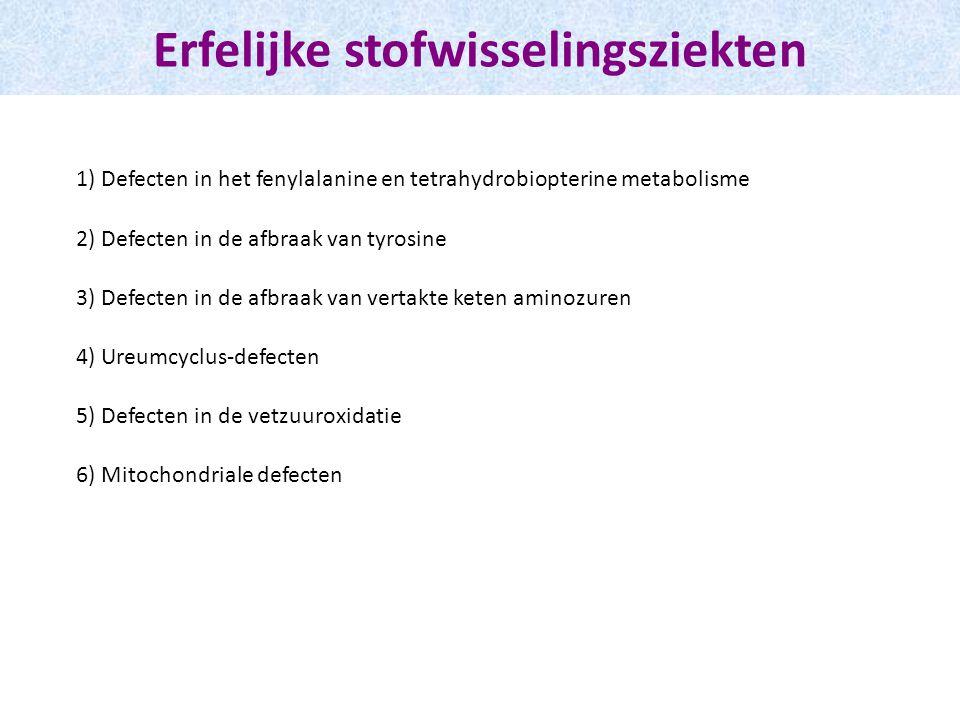 Erfelijke stofwisselingsziekten 1) Defecten in het fenylalanine en tetrahydrobiopterine metabolisme 2) Defecten in de afbraak van tyrosine 3) Defecten in de afbraak van vertakte keten aminozuren 4) Ureumcyclus-defecten 5) Defecten in de vetzuuroxidatie 6) Mitochondriale defecten