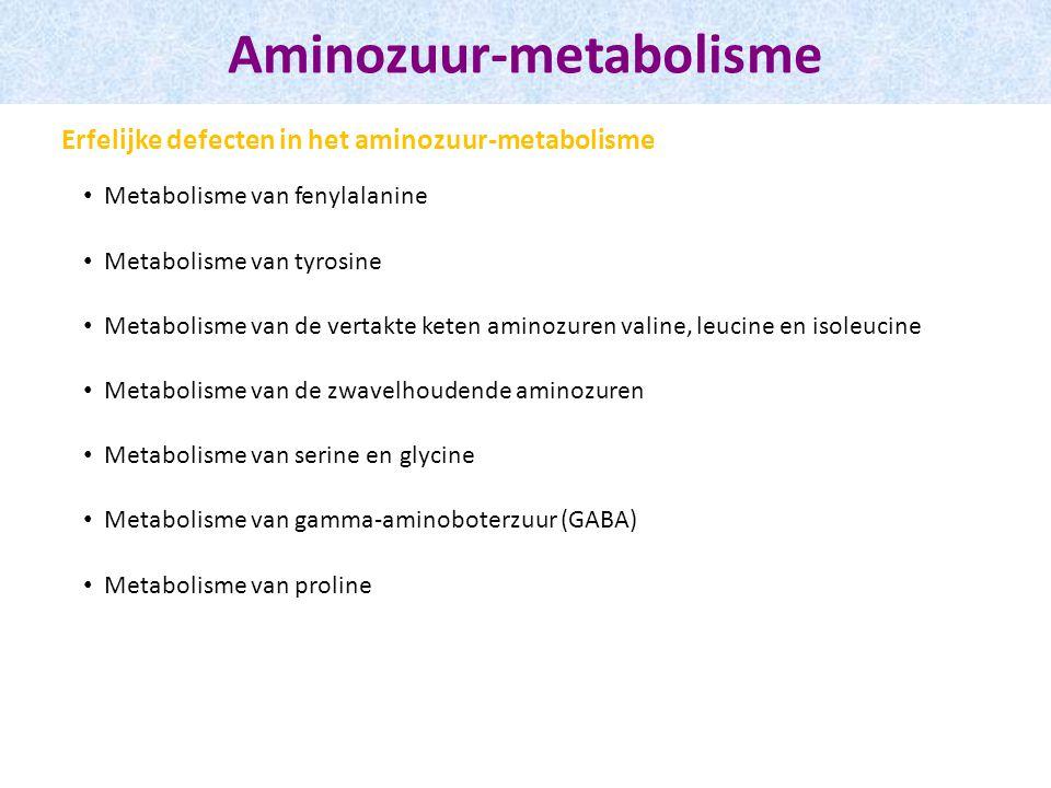 Aminozuur-metabolisme Metabolisme van fenylalanine Metabolisme van tyrosine Metabolisme van de vertakte keten aminozuren valine, leucine en isoleucine Metabolisme van de zwavelhoudende aminozuren Metabolisme van serine en glycine Metabolisme van gamma-aminoboterzuur (GABA) Metabolisme van proline Erfelijke defecten in het aminozuur-metabolisme