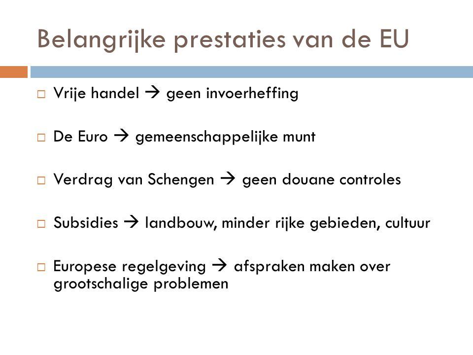 Belangrijke prestaties van de EU  Vrije handel  geen invoerheffing  De Euro  gemeenschappelijke munt  Verdrag van Schengen  geen douane controle