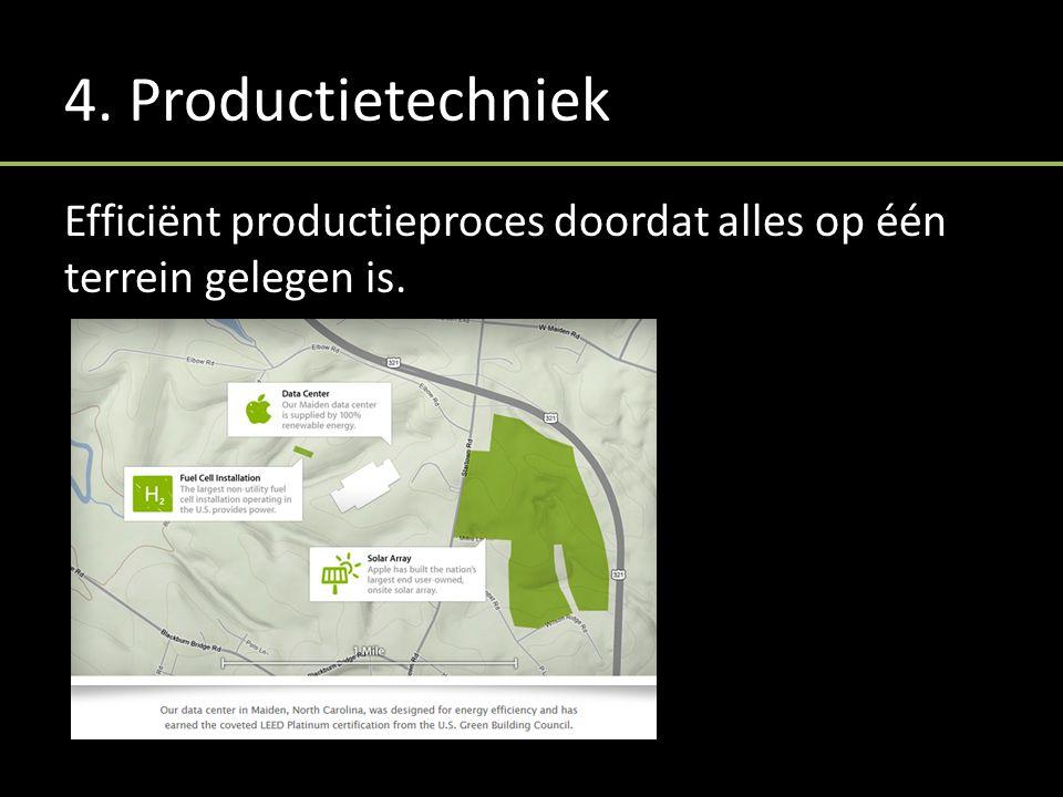 4. Productietechniek Efficiënt productieproces doordat alles op één terrein gelegen is.