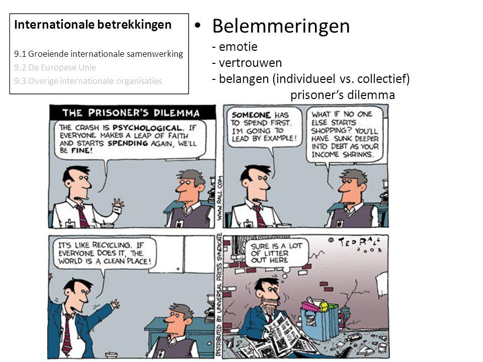 Belemmeringen - emotie - vertrouwen - belangen (individueel vs. collectief) prisoner's dilemma Internationale betrekkingen 9.1 Groeiende international