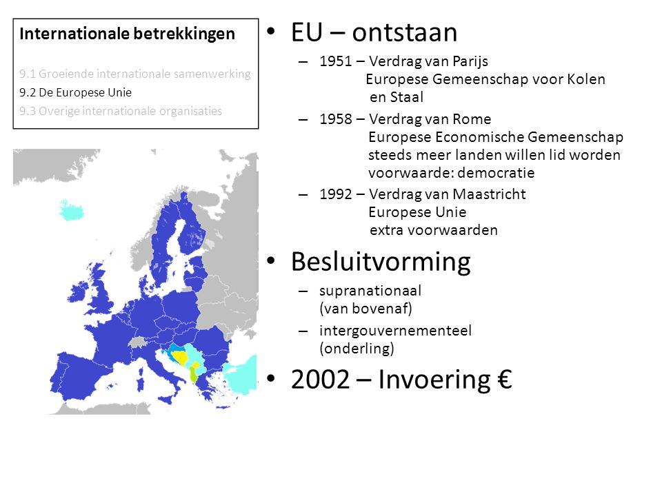 EU – ontstaan – 1951 – Verdrag van Parijs Europese Gemeenschap voor Kolen en Staal – 1958 – Verdrag van Rome Europese Economische Gemeenschap steeds m