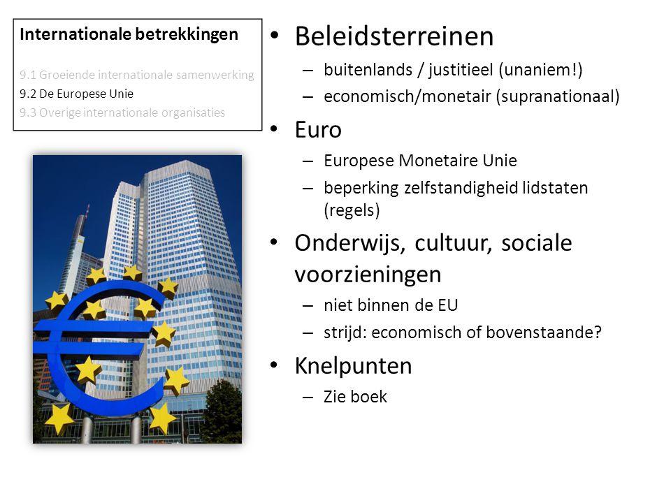 Beleidsterreinen – buitenlands / justitieel (unaniem!) – economisch/monetair (supranationaal) Euro – Europese Monetaire Unie – beperking zelfstandighe
