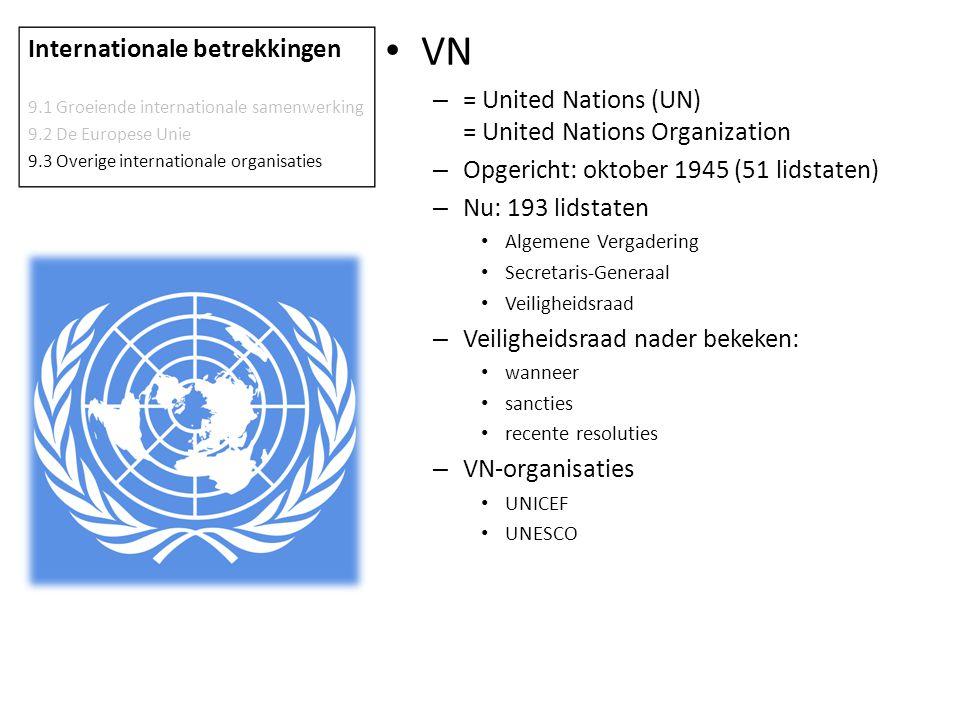 VN – = United Nations (UN) = United Nations Organization – Opgericht: oktober 1945 (51 lidstaten) – Nu: 193 lidstaten Algemene Vergadering Secretaris-