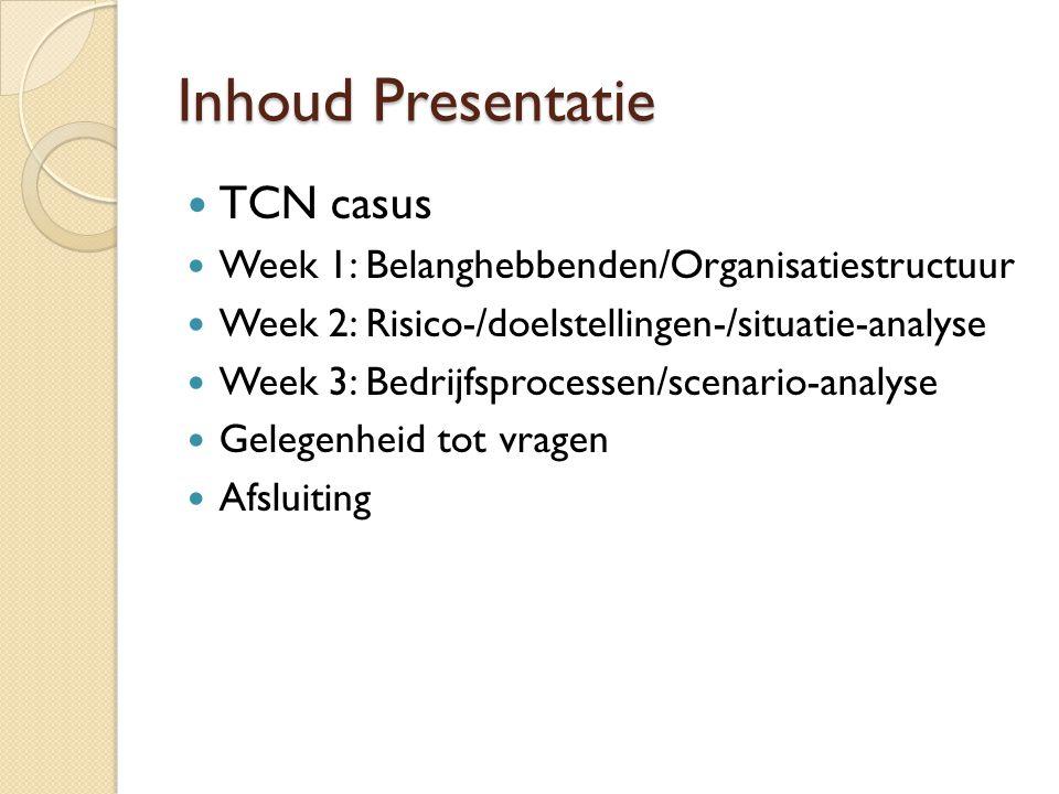 Inhoud Presentatie TCN casus Week 1: Belanghebbenden/Organisatiestructuur Week 2: Risico-/doelstellingen-/situatie-analyse Week 3: Bedrijfsprocessen/s