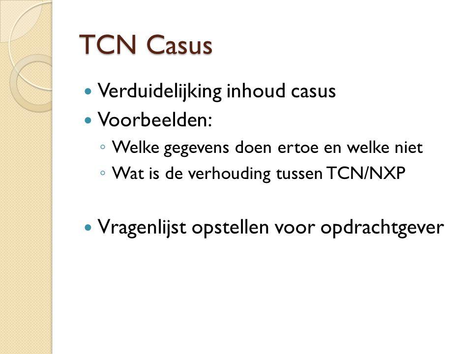 TCN Casus Verduidelijking inhoud casus Voorbeelden: ◦ Welke gegevens doen ertoe en welke niet ◦ Wat is de verhouding tussen TCN/NXP Vragenlijst opstel