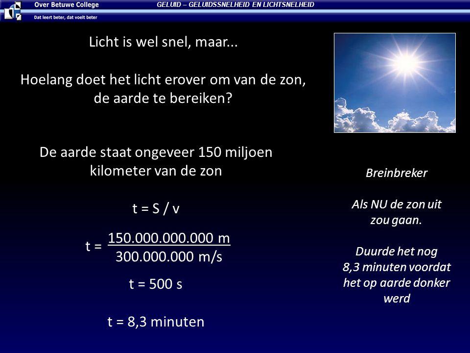 Licht is wel snel, maar...Hoelang doet het licht erover om van de zon, de aarde te bereiken.