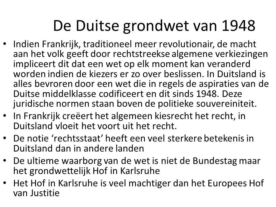De Duitse grondwet van 1948 Indien Frankrijk, traditioneel meer revolutionair, de macht aan het volk geeft door rechtstreekse algemene verkiezingen im